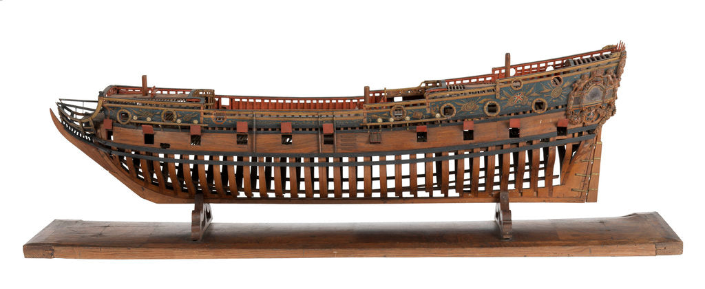 Detail of Model of a warship, frigate, 36-40 guns by unknown