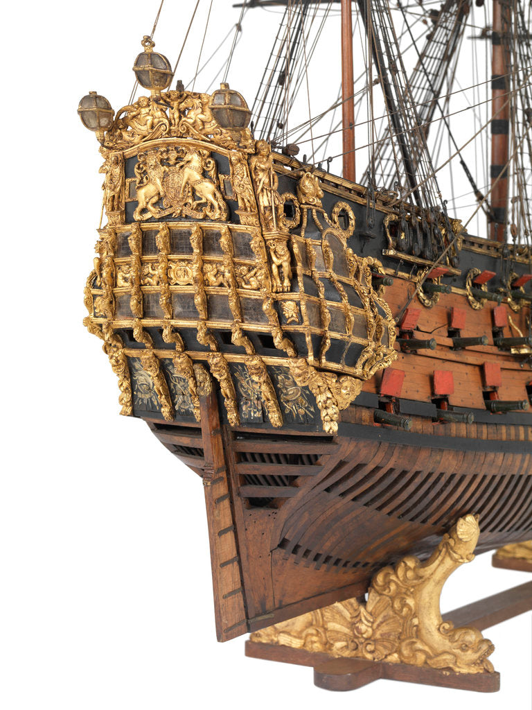 Detail of Navy board model of warship 'St Michael (1669)', 98 guns, 1st rate by unknown