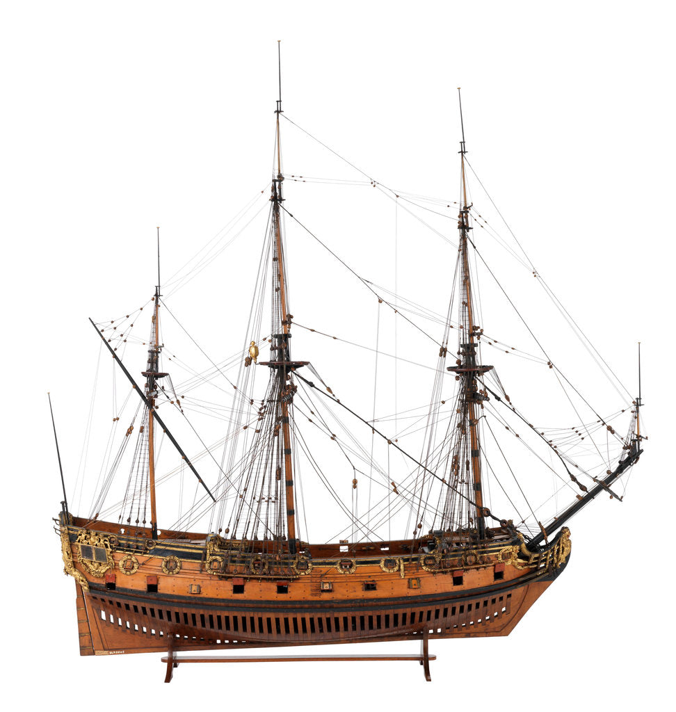 Detail of Model of a warship (1685), 40 guns by unknown