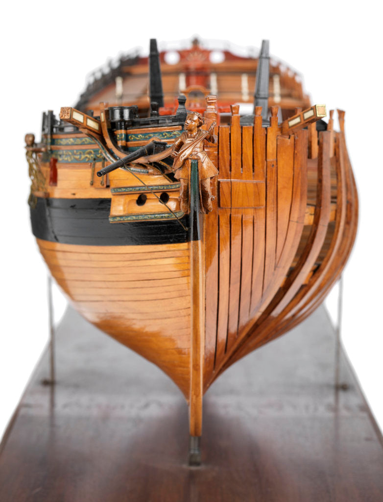 Detail of Contemporary full hull model of the 'Winchelsea' (circa 1764) a frigate of 32 guns by Thomas Burroughs