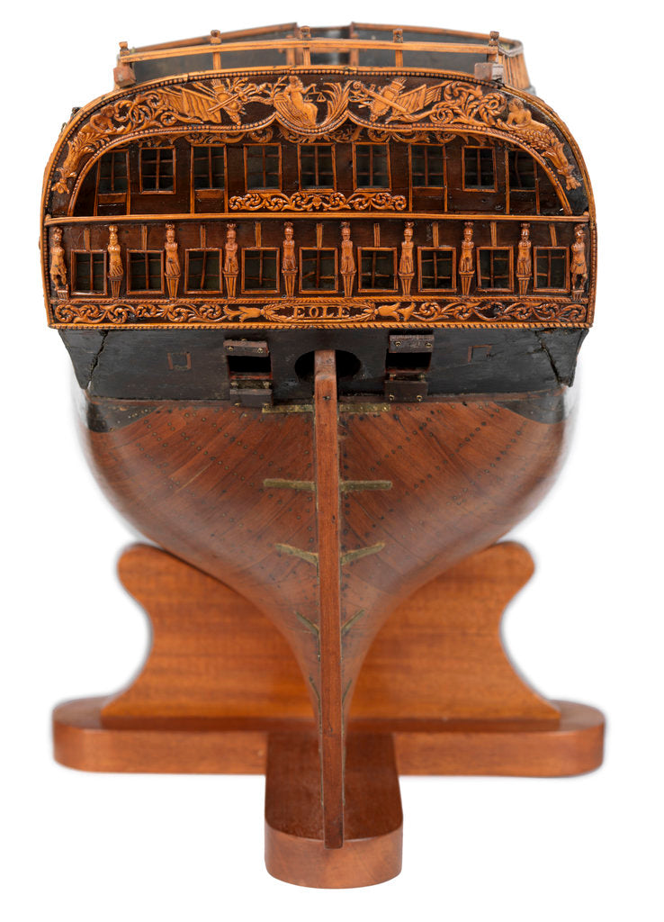 Detail of Contemporary full hull model of the 'L'Éole' (1789), a French 74-gun two-decker ship of the line by unknown