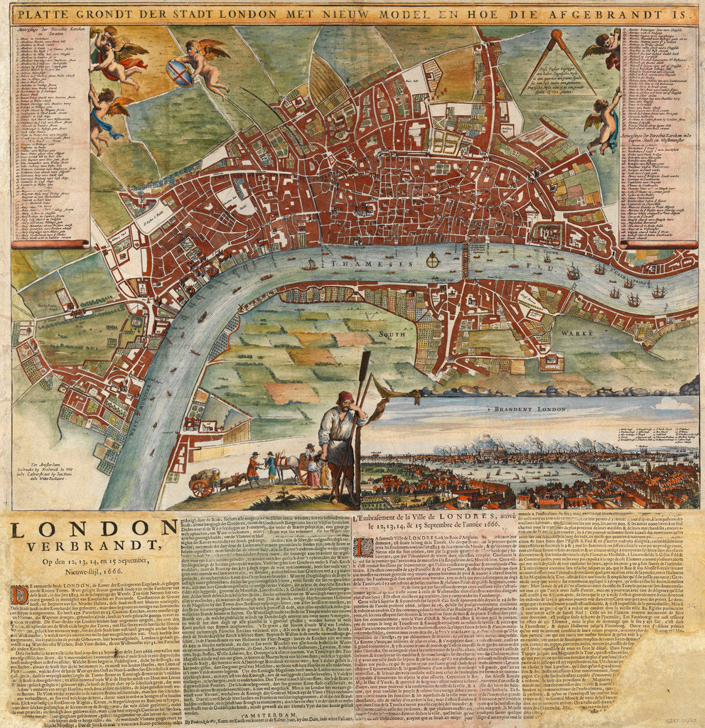 Detail of A Dutch map showing areas devastated by the Great Fire of London, 1666 by unknown