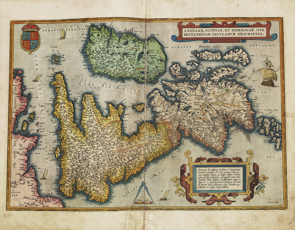 Detail of Angliae, Scotiae, et Hiberniae, sive Britannicar: Insularum descriptio (England, Scotland and Ireland, otherwise known as the British Isles) by Abraham Ortelius