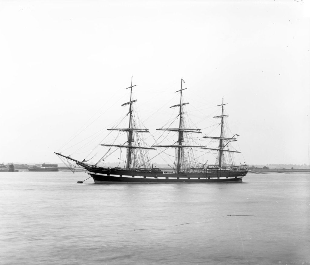 Detail of 'Macquarie' (Br, 1875) 3 masted ship, ex 'Melbourne' (Devitt & Moore), moored at Gravesend by F. C. Gould & Sons