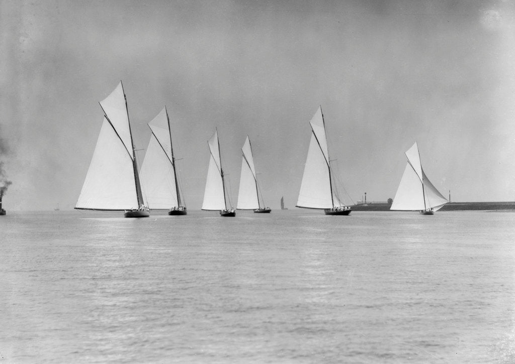 Detail of Six yachts racing on the Medway by Anonymous