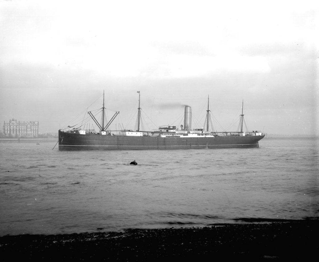 Detail of 'Ayrshire' (Br, 1903) anchored on the River Thames at Tilbury by unknown