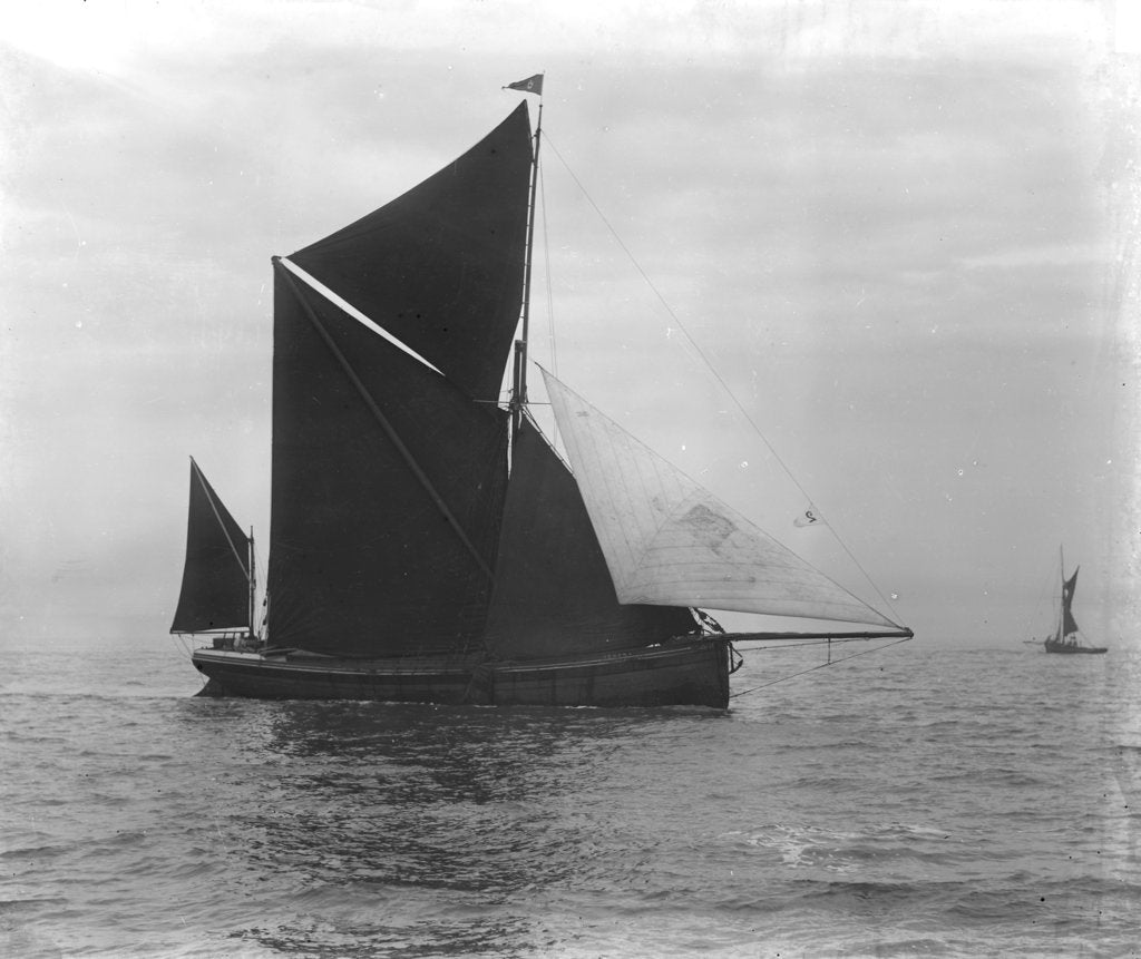 Detail of Sailing barge 'Verona' (Br, 1905) under sail by unknown