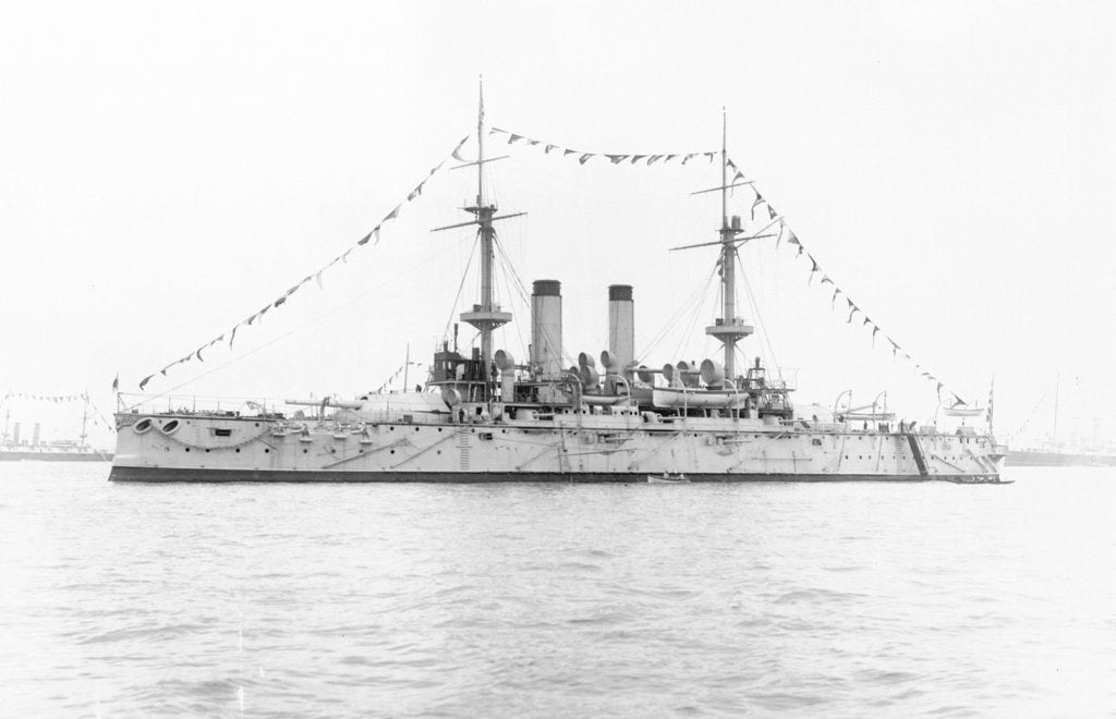 Detail of Japanese battleship HIJMS 'Fuji' (1896) anchored at Spithead and dressed overall by unknown