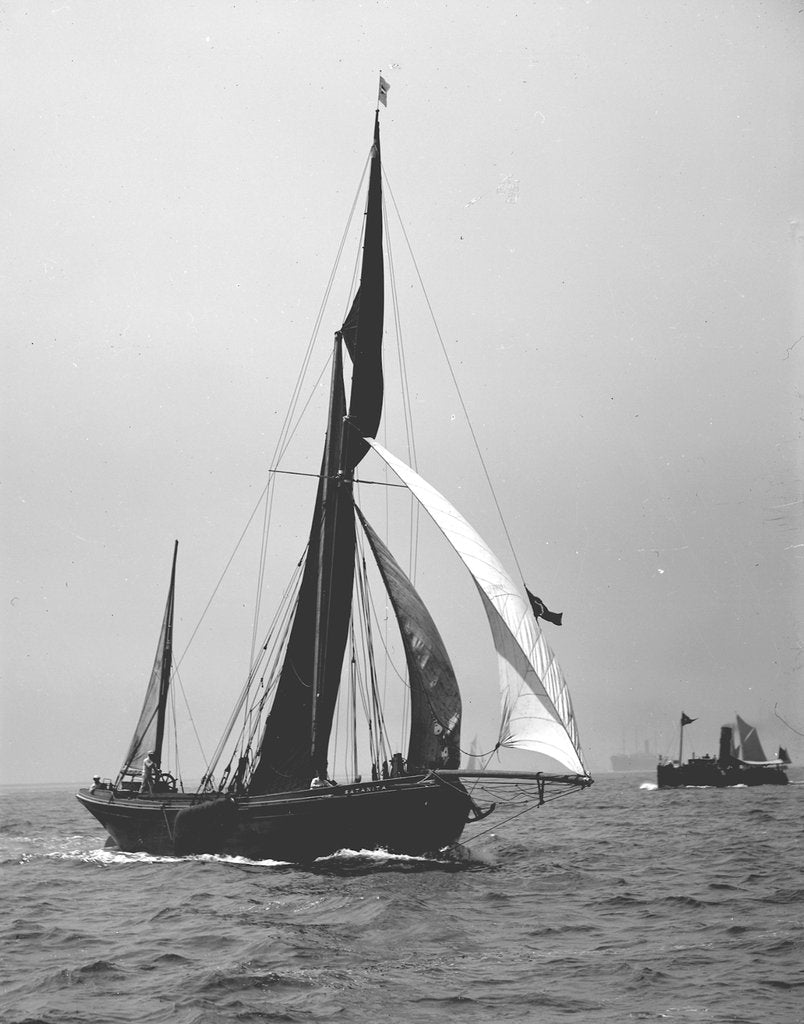Detail of 'Satanita' (Br, 1897) under sail by unknown