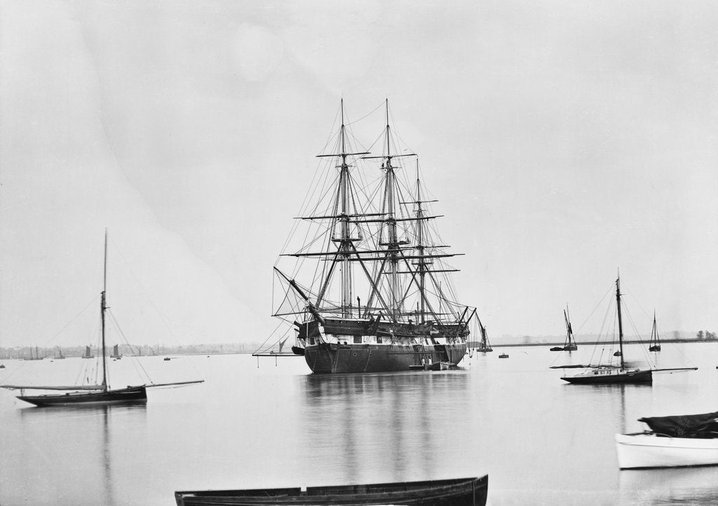 Detail of 'Worcester' (1843) moored in the Thames in 1875 by unknown