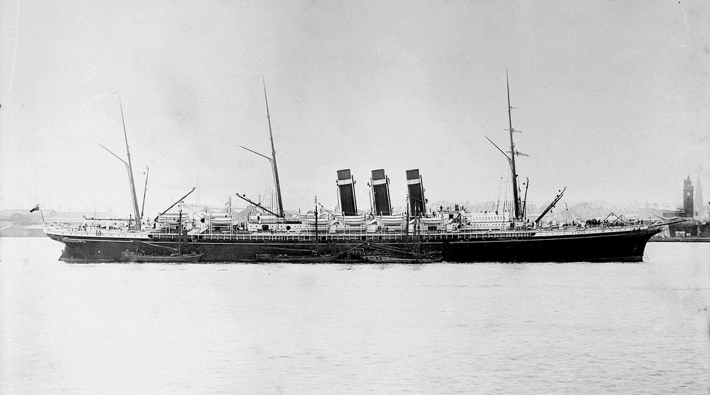 Detail of Passenger liner 'City of New York' (1888) at anchor, River Mersey, Liverpool by unknown