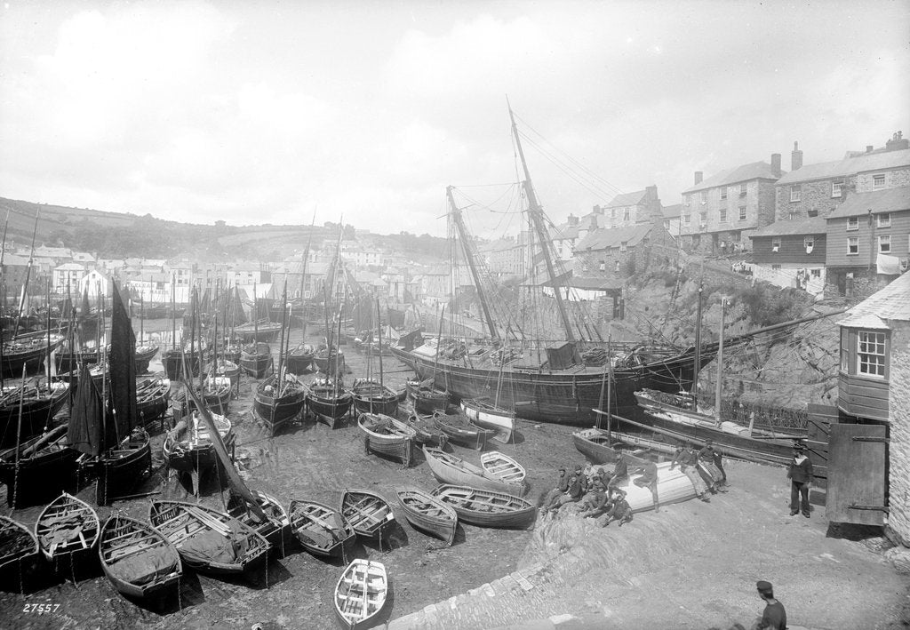 Detail of Mevagissey harbour, circa 1890 by unknown
