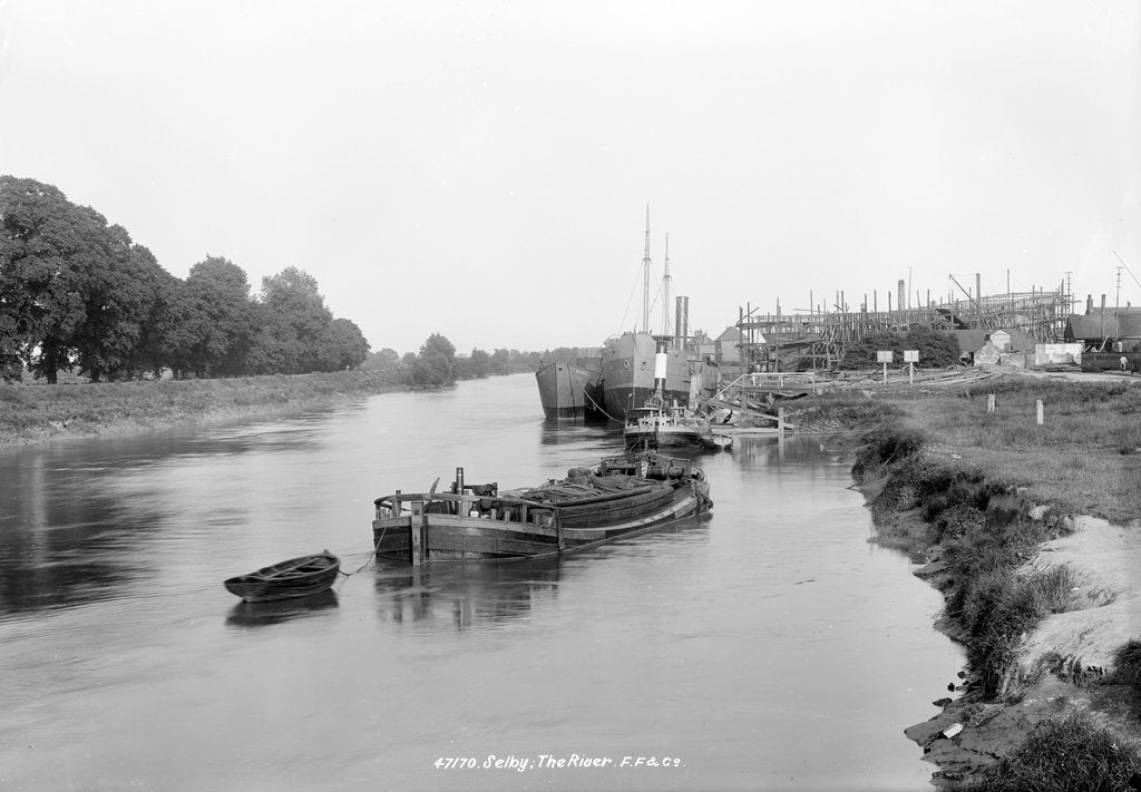 Detail of The River Ouse, showing the yard of the Selby Shipbuilding and Engineering Co Ltd. by unknown