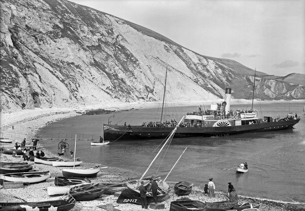Detail of Paddlesteamer Victoria preparing to beach and land passengers at Lulworth Cove, Dorset by National Maritime Museum