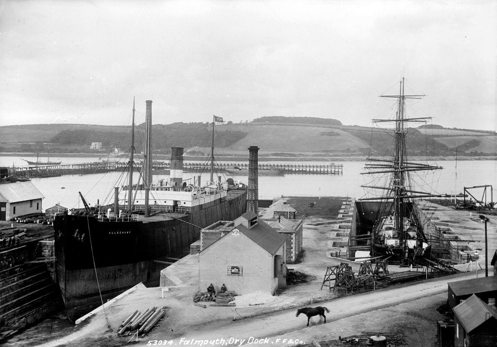 Detail of The dry dock at Falmouth with SS 'Alleghany' berthed and a 3-masted barque in the adjacent dry dock by unknown