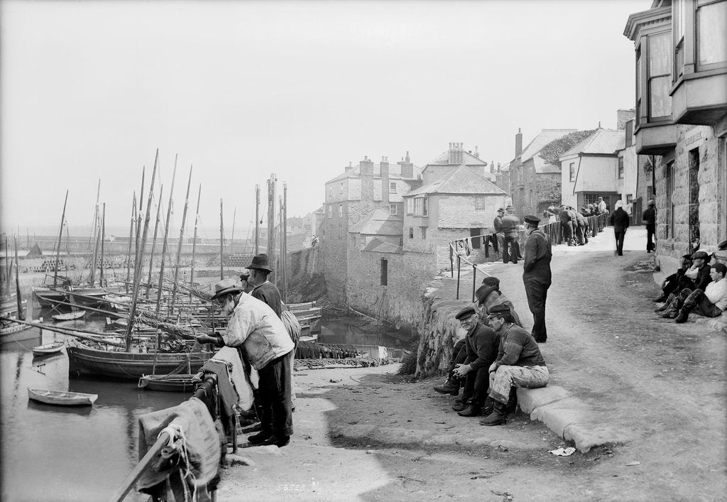 Detail of Newlyn Harbour, Cornwall. The old harbour with fishermen looking out to sea. by National Maritime Museum