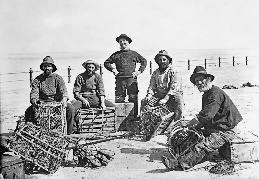 Detail of Fishermen with lobster pots, Sheringham, Norfolk by National Maritime Museum