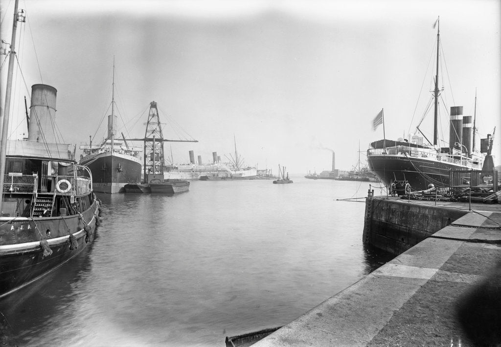 Detail of The Empress Docks at Southampton with tug 'Ajax', 'Amazon' and 'St Paul' by unknown