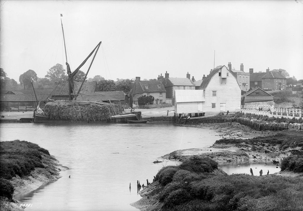 Detail of St. Osyth, Essex, the river with hay laden spritsail barge and village by unknown