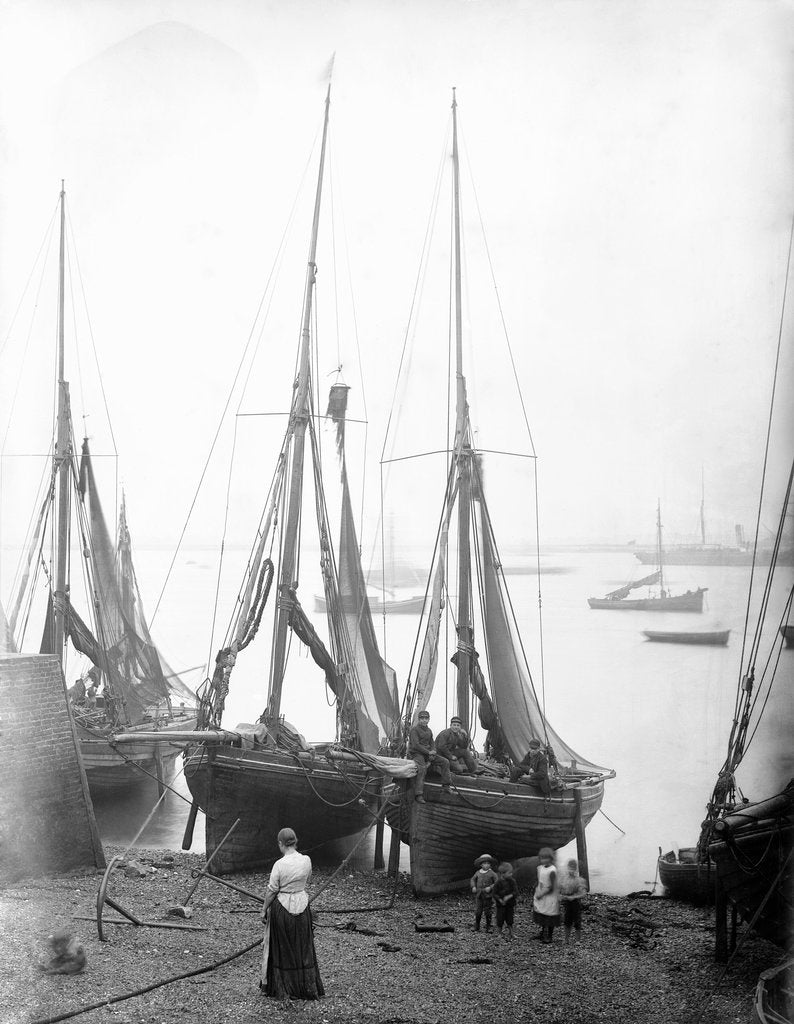 Detail of View across River Thames with fishing bawleys drawn up onto the foreshore. Gravesend, Kent by unknown