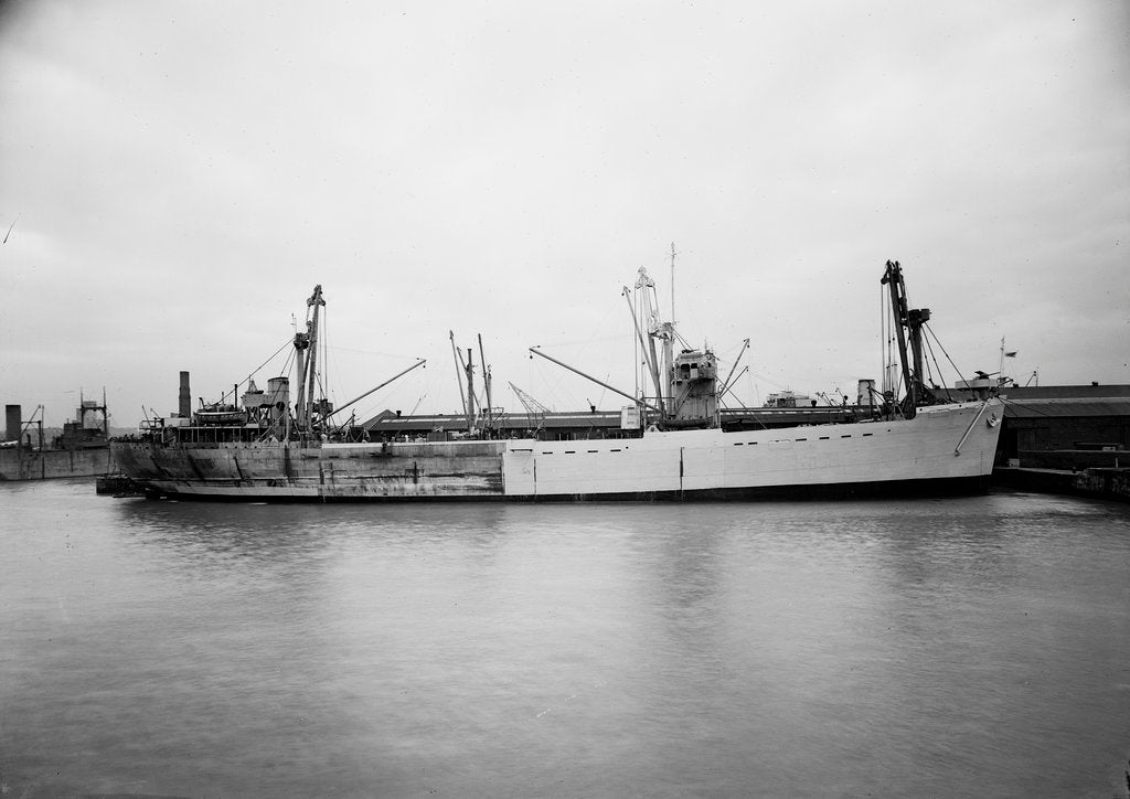 Detail of 'Empire Elaine' (1942), lying at quayside prior to 17 May 1943 by unknown