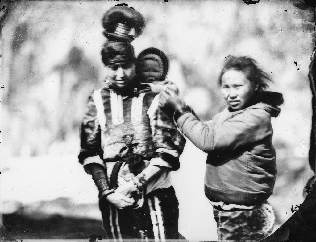 Two Inuit women with baby by Edward Augustus Inglefield