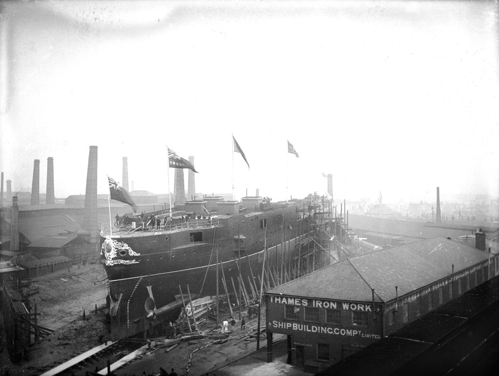 Detail of HMS 'Sans Pareil' on the morning of her launch, Thames Iron Works by unknown