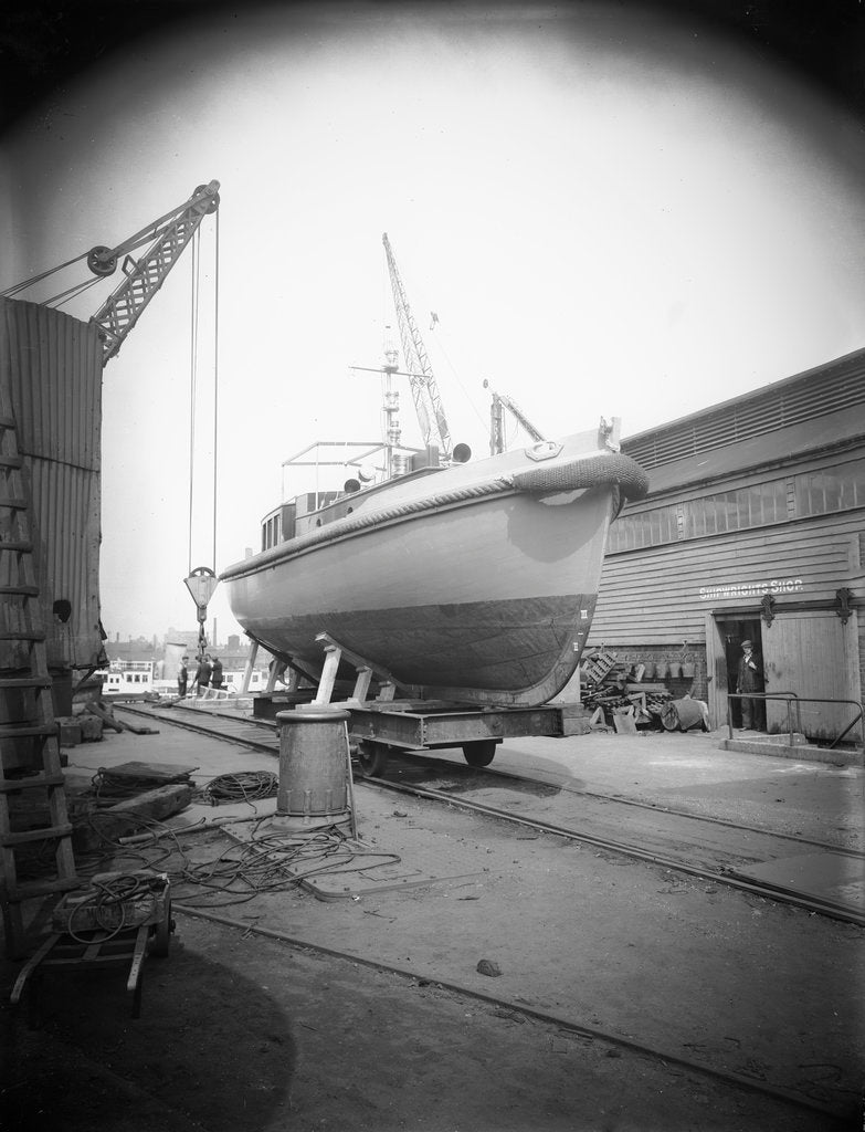 Detail of PGML 16 (1936) (Palestine Government Motor Launch) on a cradle outside the shipwright's shop at Woolston, being prepared for shipment to Palestine by unknown