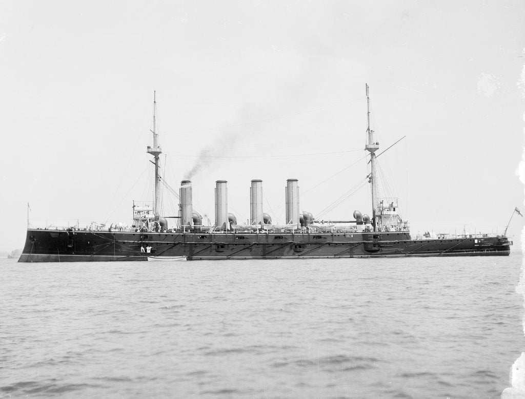 HMS 'Diadem' (1896) anchored at Spithead, masts wrapped in sailcloth by Anonymous
