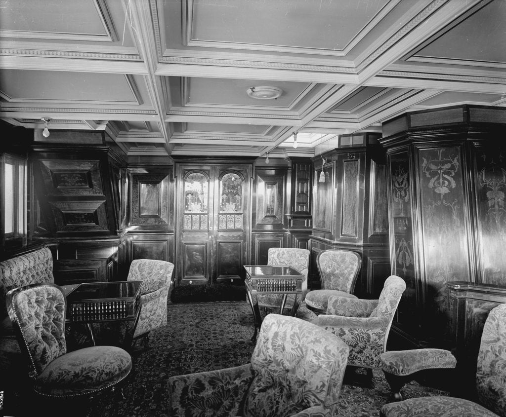 Detail of First Class Drawing Room on the 'Omrah' (1899) by Bedford Lemere & Co.