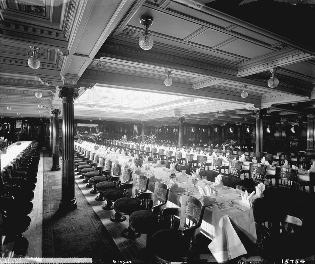 Detail of First Class Dining Saloon on the 'Lucania' (1893) by Bedford Lemere & Co.
