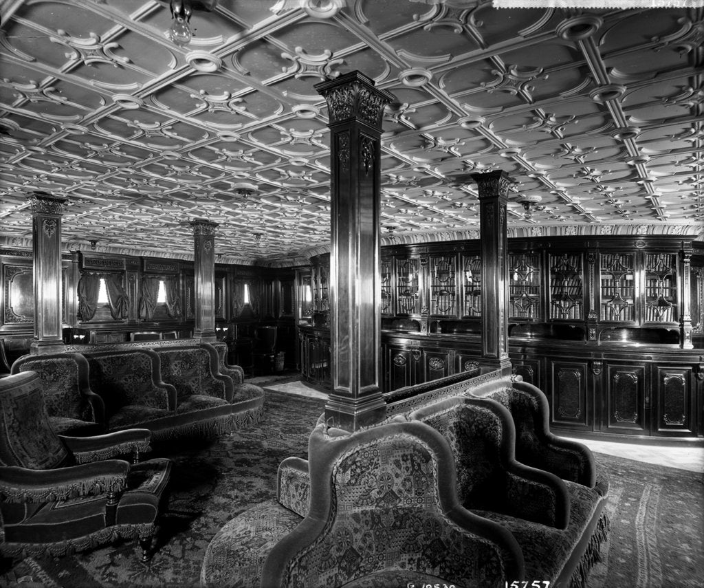 First Class Library on the 'Lucania' (1893) by Bedford Lemere & Co.