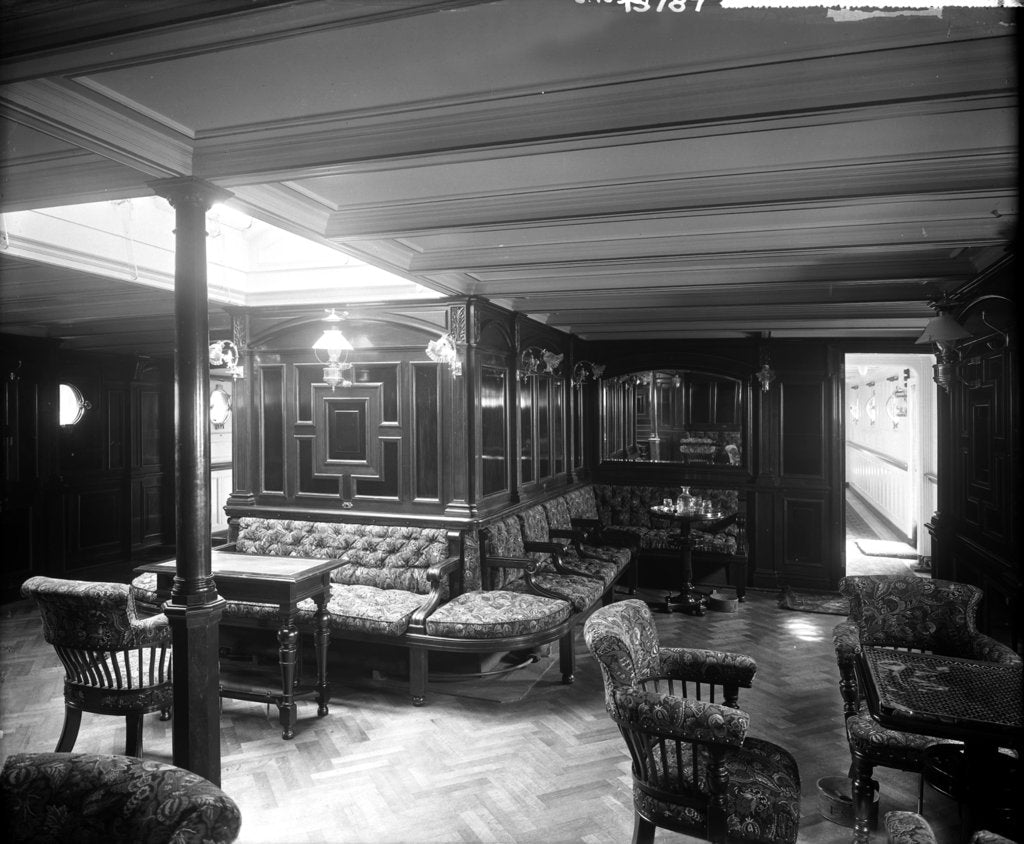 Detail of First Class Smoking Room on the 'Saxonia' (1900) by Bedford Lemere & Co.