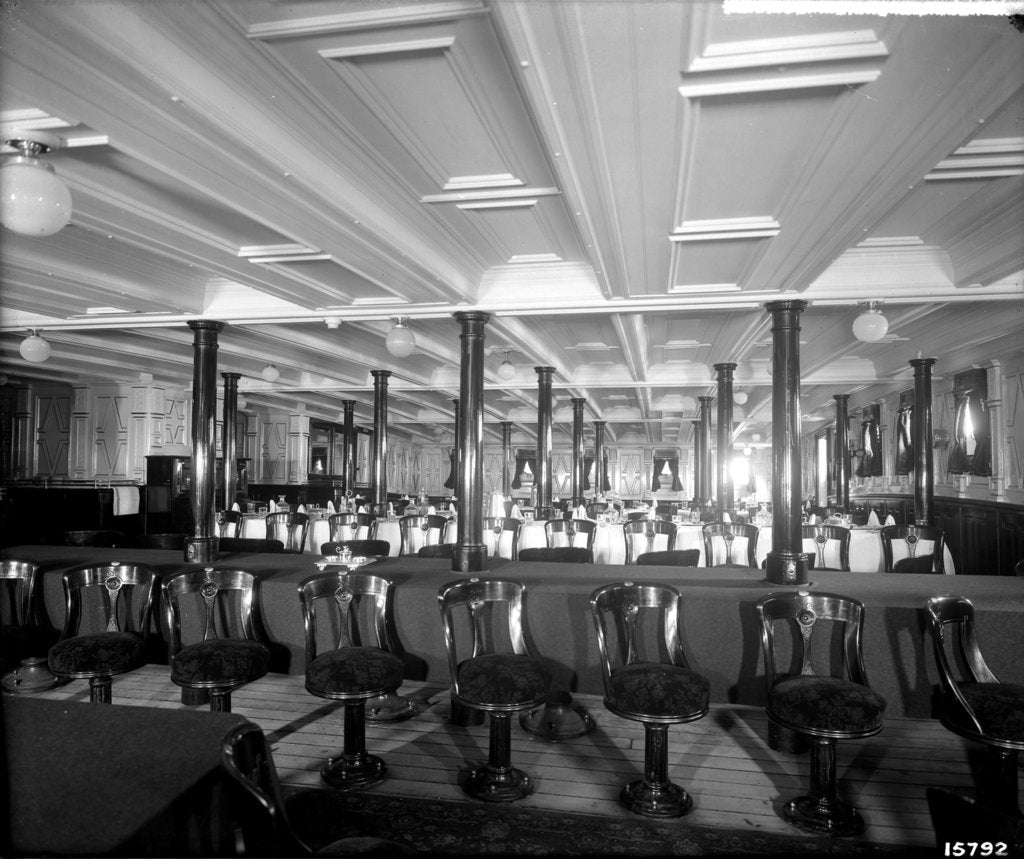 Second Class Dining Saloon on the 'Saxonia' (1900) by Bedford Lemere & Co.