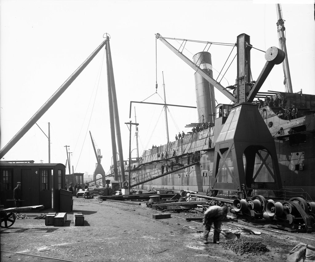 Detail of Cranes at the Fitting-out Basin, John Brown & Co. Ltd, Clydebank, 1901 by Bedford Lemere & Co.