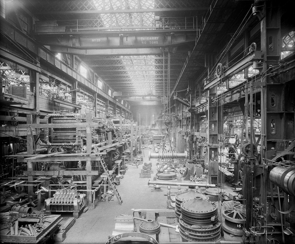 Detail of Erecting Shop in the Engine Works at John Brown & Co. Ltd, Clydebank, 1901 by Bedford Lemere & Co.