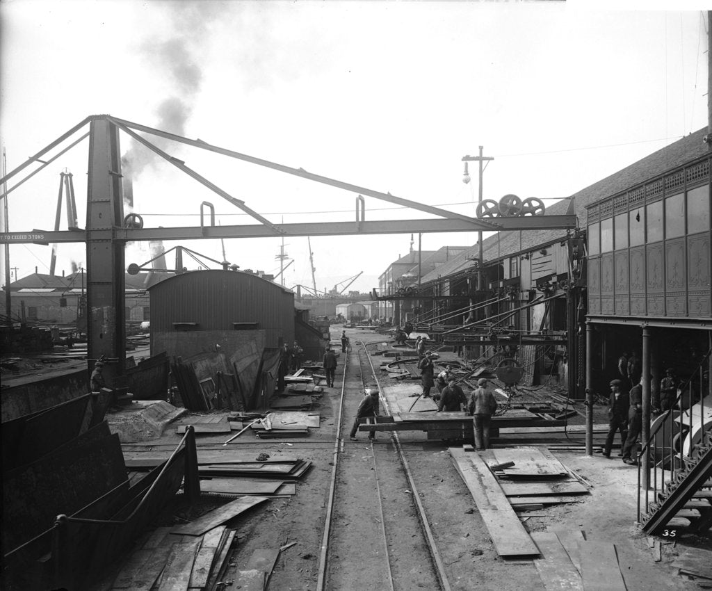 Detail of Area outside the Platers' Machine Shed at John Brown & Co. Ltd, Clydebank, 1901 by Bedford Lemere & Co.