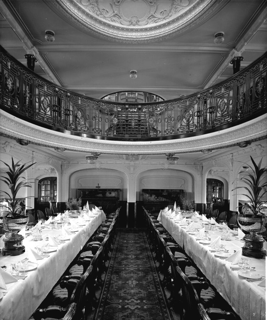 Detail of First Class Dining Saloon on the 'Balmoral Castle' (1910) by Bedford Lemere & Co.