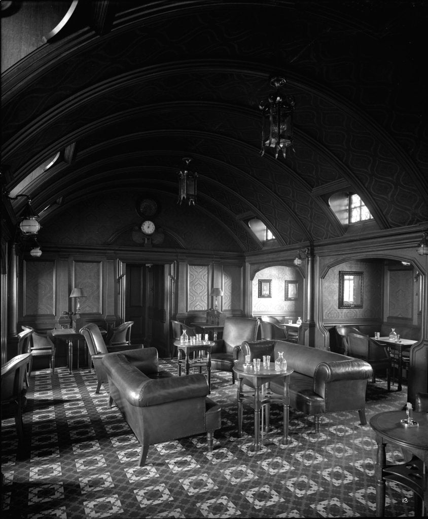 Detail of First Class Smoking Room on the 'Balmoral Castle' (1910) by Bedford Lemere & Co.