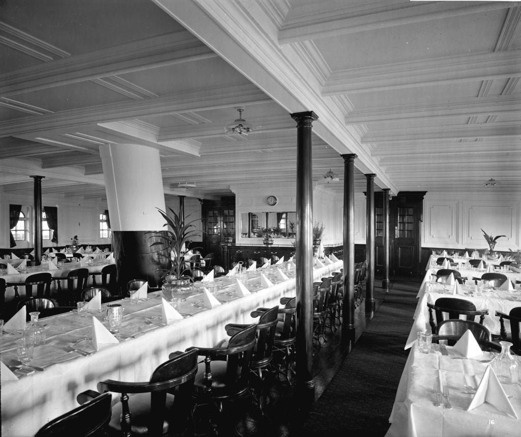 Detail of Second Class Dining Saloon on the 'Balmoral Castle' (1910) by Bedford Lemere & Co.
