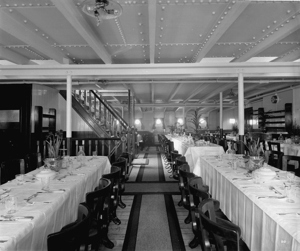 Detail of Third Class Dining Saloon on the 'Balmoral Castle' (1910) by Bedford Lemere & Co.