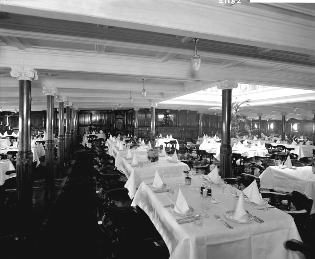 Detail of First Class Dining Saloon on the 'Ivernia' (1900) by Bedford Lemere & Co.