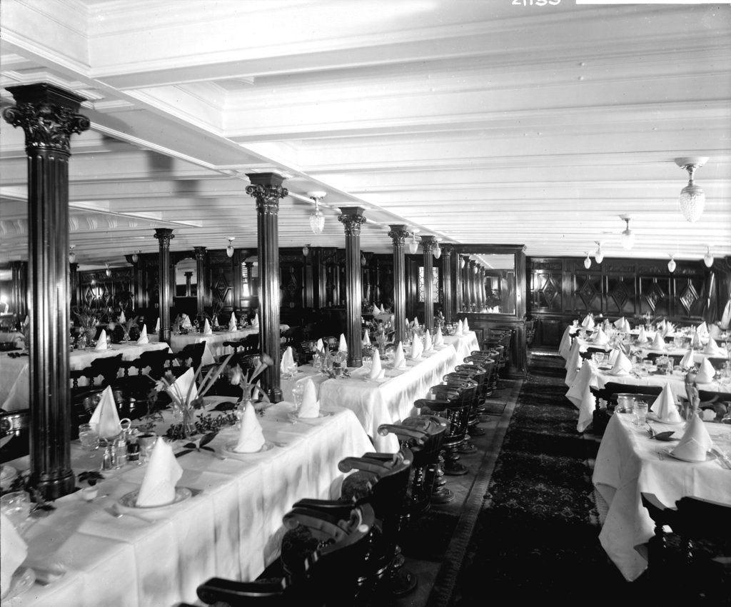 Detail of First Class Dining Saloon on the 'Saxonia' (1900) by Bedford Lemere & Co.