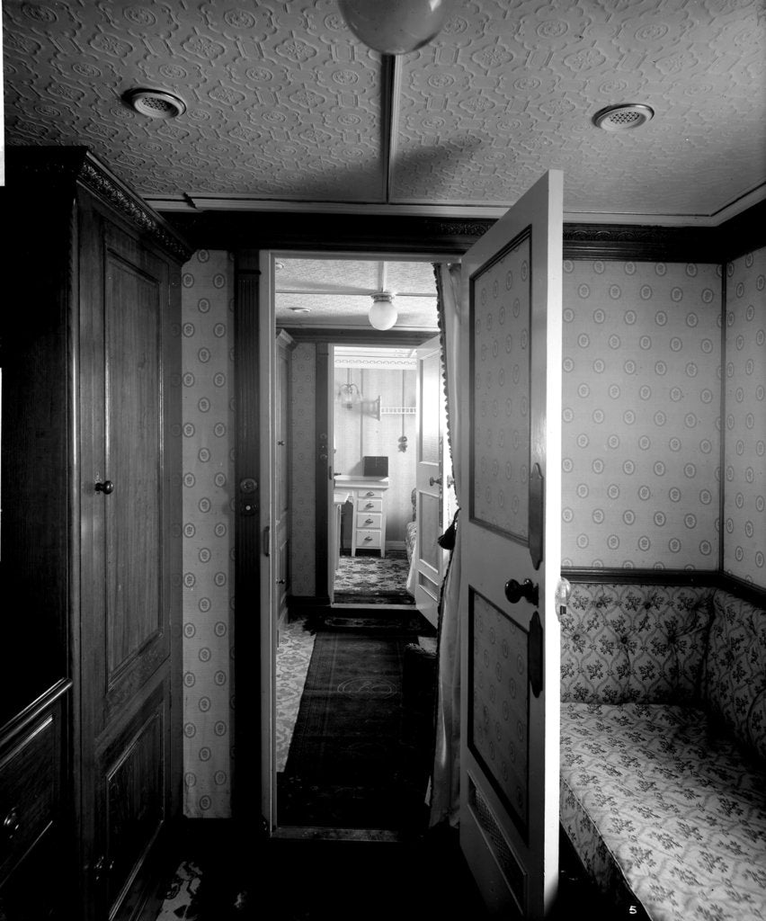 Detail of First Class suite de luxe on the 'Highland Loch' (1911) by Bedford Lemere & Co.