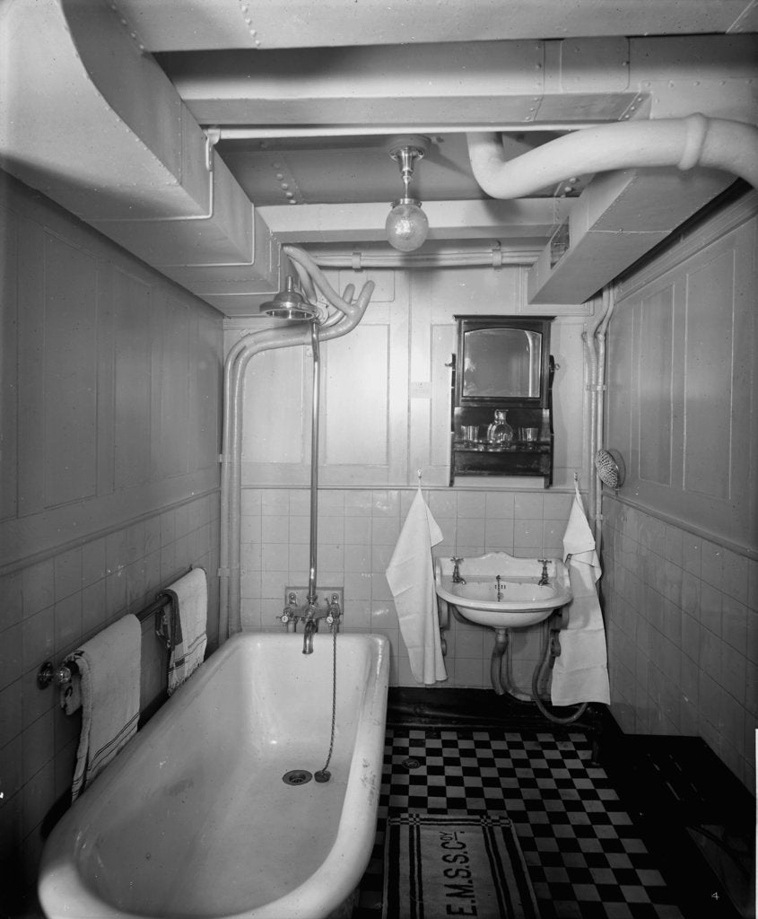 Detail of First Class bathroom on the 'Royal George' (1907) by Bedford Lemere & Co.