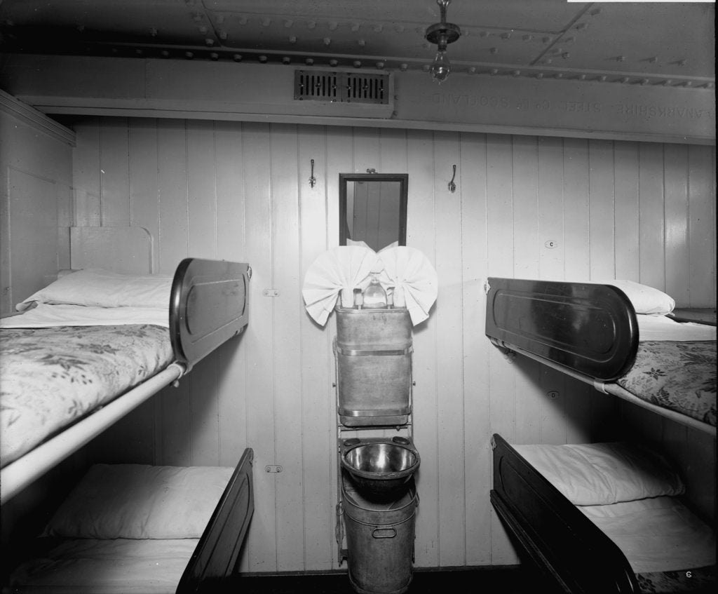 Detail of Third Class cabin on the 'Royal George' (1907) by Bedford Lemere & Co.