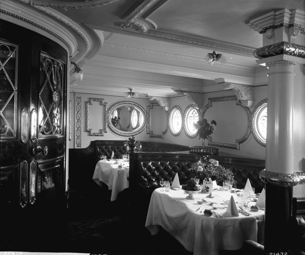 Detail of First Class Dining Saloon on the Empress of Ireland (1906) by Bedford Lemere & Co.