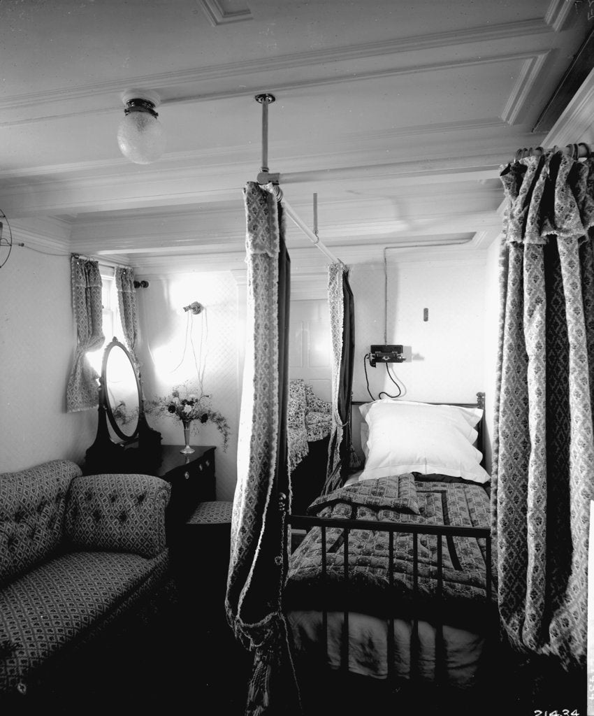 Detail of Duchess of Connaught's Bedroom on the 'Empress of Ireland' (1906) by Bedford Lemere & Co.