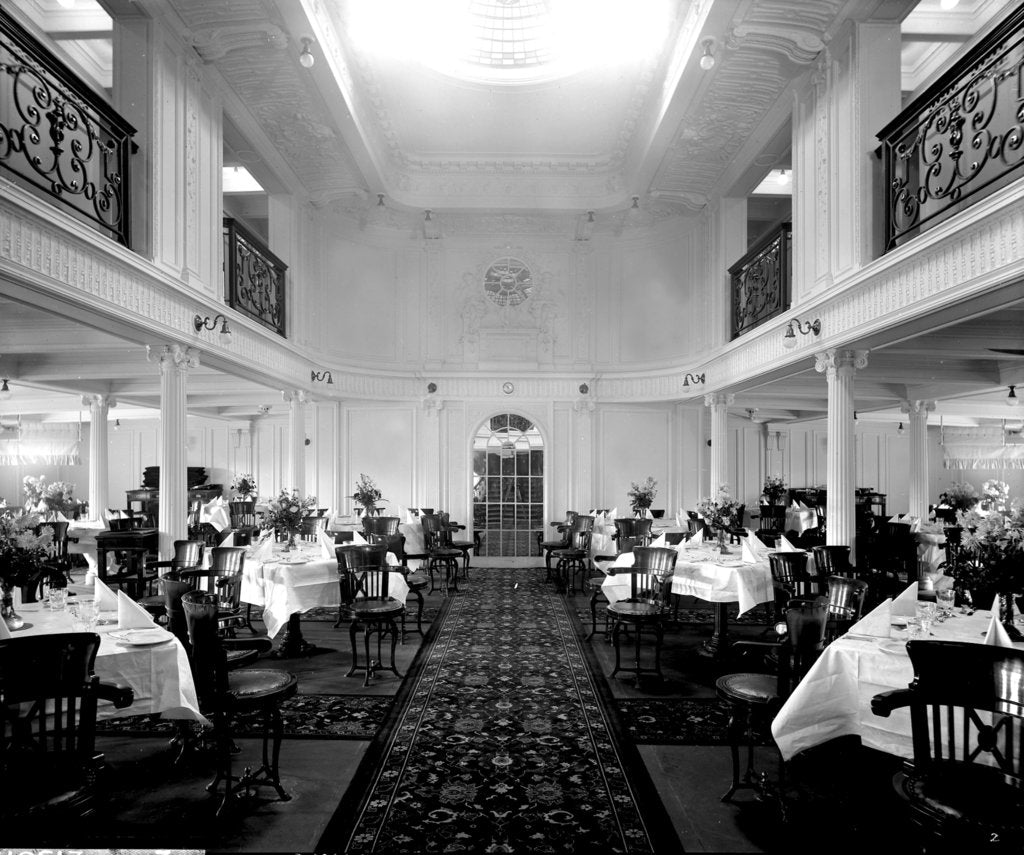 First Class Dining Saloon on the 'Orama' (1911) by Bedford Lemere & Co.