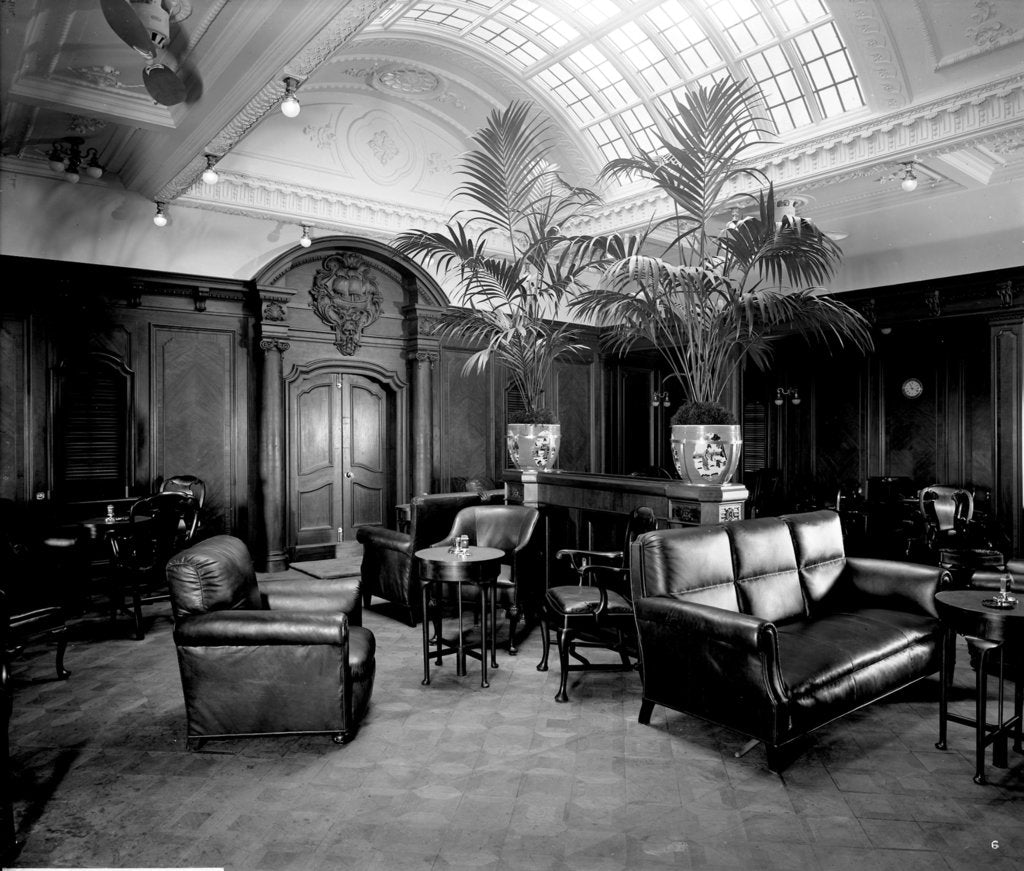 Detail of First Class Smoking Room on the 'Orama' (1911) by Bedford Lemere & Co.